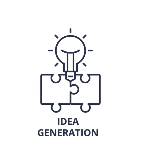 Idea generation line icon concept. Idea generation vector linear illustration, sign, symbol
