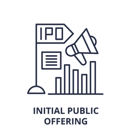 Initial public offering line icon concept. Initial public offering vector linear illustration, sign, symbol