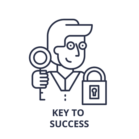Key to success line icon concept. Key to success vector linear illustration, sign, symbol Standard-Bild - 112277597