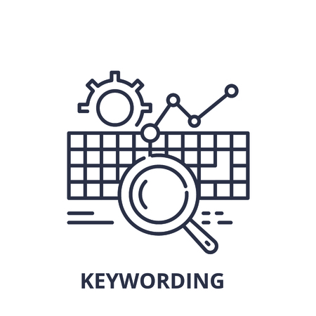 Keywording line icon concept. Keywording vector linear illustration, sign, symbol Ilustração