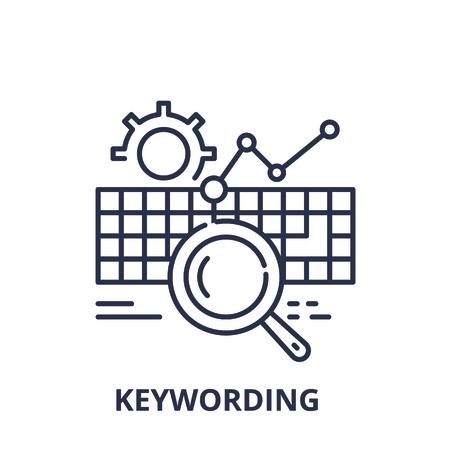 Keywording line icon concept. Keywording vector linear illustration, sign, symbol Illustration