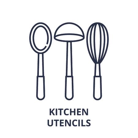 Kitchen utencils line icon concept. Kitchen utencils vector linear illustration, sign, symbol