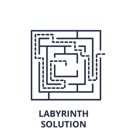 Labyrinth solution line icon concept. Labyrinth solution vector linear illustration, sign, symbol