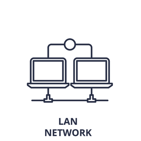 Lan network line icon concept. Lan network vector linear illustration, sign, symbol 일러스트