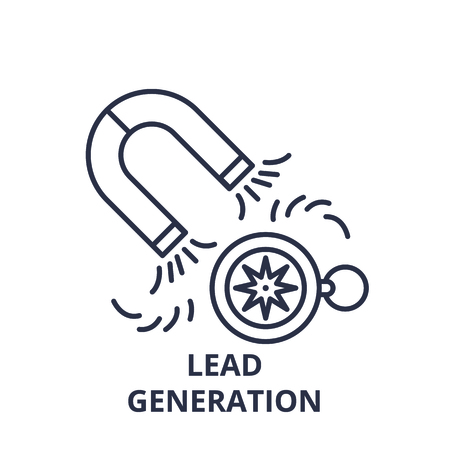 Lead generation line icon concept. Lead generation vector linear illustration, sign, symbol