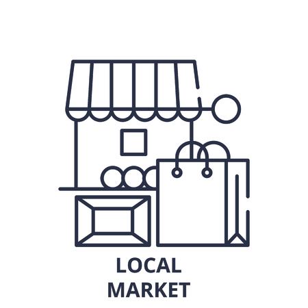 Local market line icon concept. Local market vector linear illustration, sign, symbol