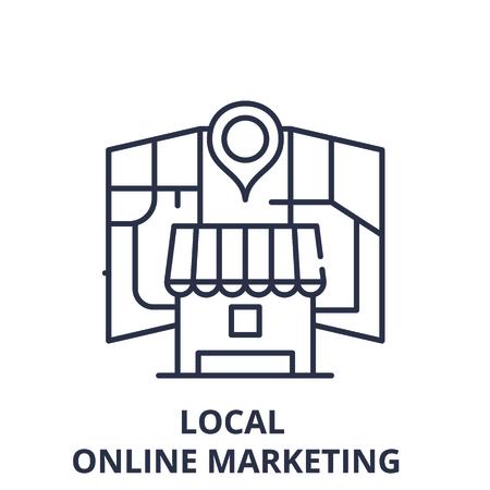 L'icône de la ligne de marketing en ligne local concept. Illustration linéaire vectorielle de marketing en ligne local, signe, symbole