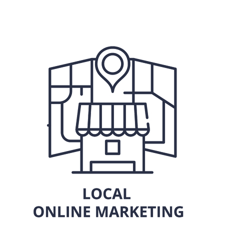 Local online marketing line icon concept. Local online marketing vector linear illustration, sign, symbol