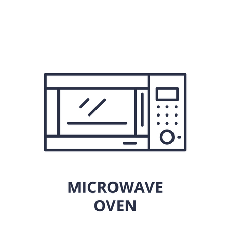 Microwave oven line icon concept. Microwave oven vector linear illustration, sign, symbol