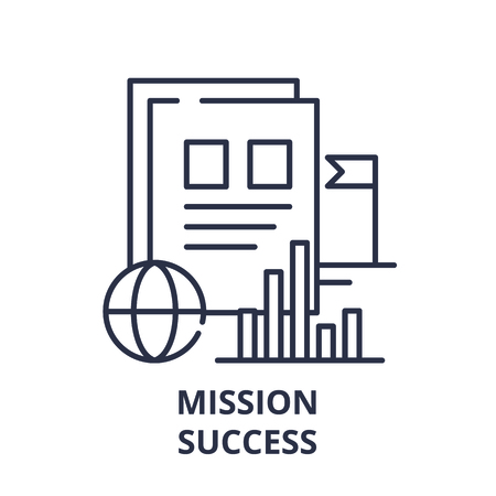 Mission success line icon concept. Mission success vector linear illustration, sign, symbol