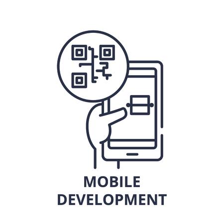 Mobile development line icon concept. Mobile development vector linear illustration, sign, symbol
