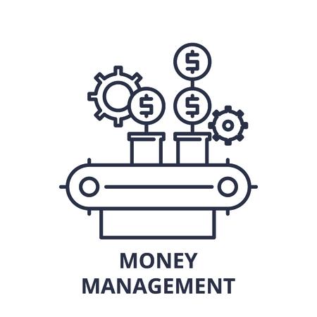 Money management line icon concept. Money management vector linear illustration, sign, symbol