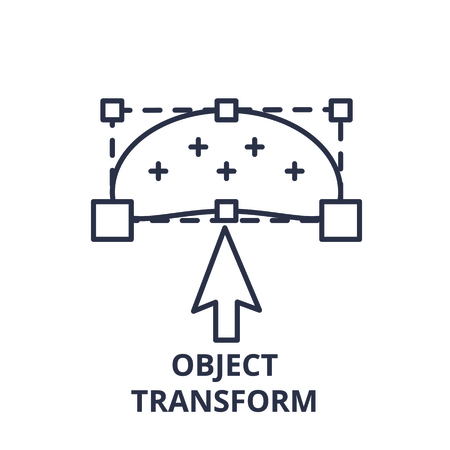Object transform line icon concept. Object transform vector linear illustration, sign, symbol Ilustração