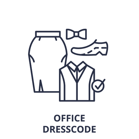 Office dresscode line icon concept. Office dresscode vector linear illustration, sign, symbol