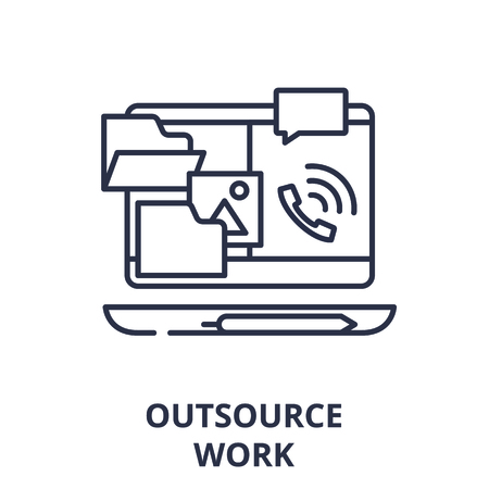 Outsource work line icon concept. Outsource work vector linear illustration, sign, symbol
