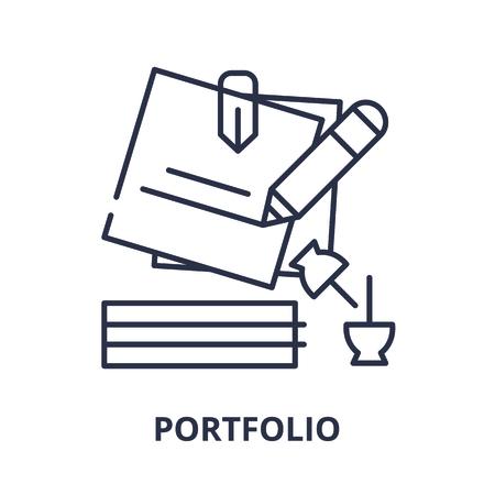 Portfolio line icon concept. Portfolio vector linear illustration, sign, symbol