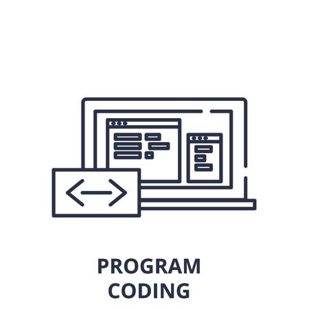 Program coding line icon concept. Program coding vector linear illustration, sign, symbol