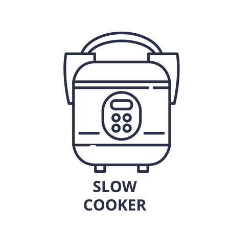 Slow cooker line icon concept. Slow cooker vector linear illustration, sign, symbol