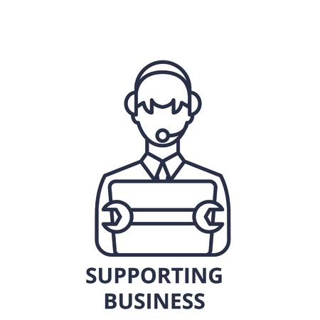 Supporting business line icon concept. Supporting business vector linear illustration, sign, symbol
