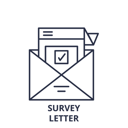 Survey letter line icon concept. Survey letter vector linear illustration, sign, symbol