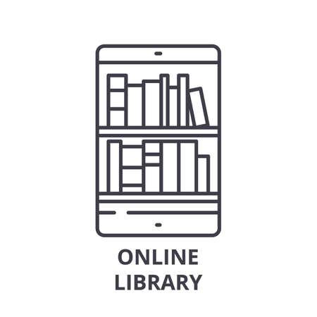 Online library line icon concept. Online library vector linear illustration, sign, symbol Ilustração