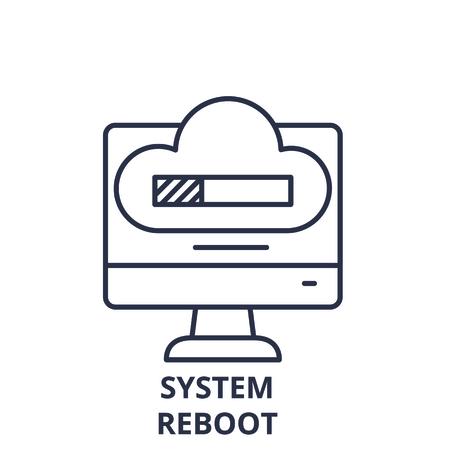 System reboot line icon concept. System reboot vector linear illustration, sign, symbol Illustration