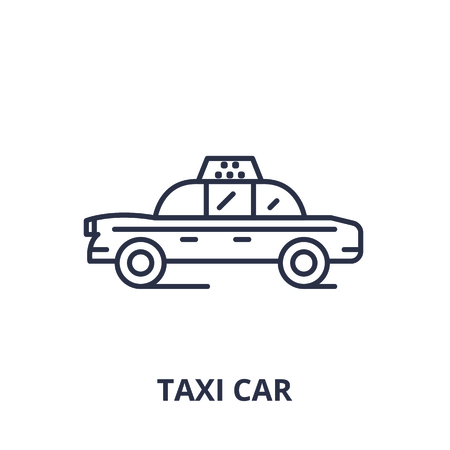 Taxi car line icon concept. Taxi car vector linear illustration, sign, symbol