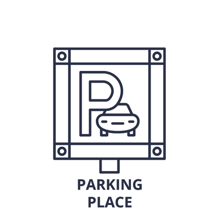 Parking place line icon concept. Parking place vector linear illustration, sign, symbol