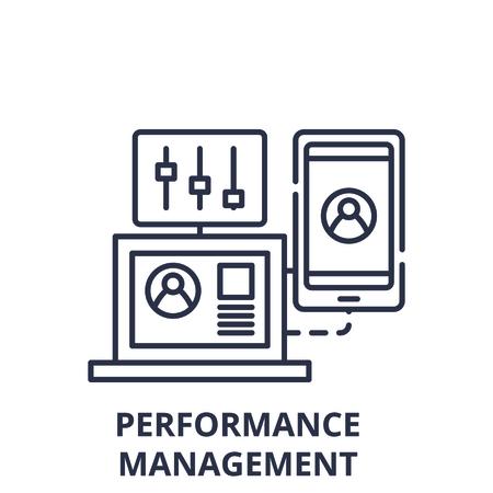 Performance management line icon concept. Performance management vector linear illustration, sign, symbol Ilustração