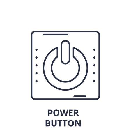 Power button line icon concept. Power button vector linear illustration, sign, symbol Ilustração