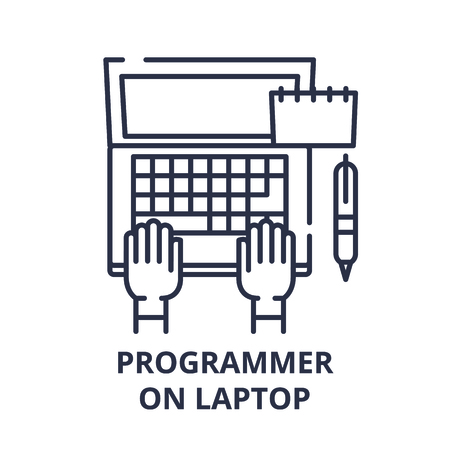 Programmer on laptop line icon concept. Programmer on laptop vector linear illustration, sign, symbol