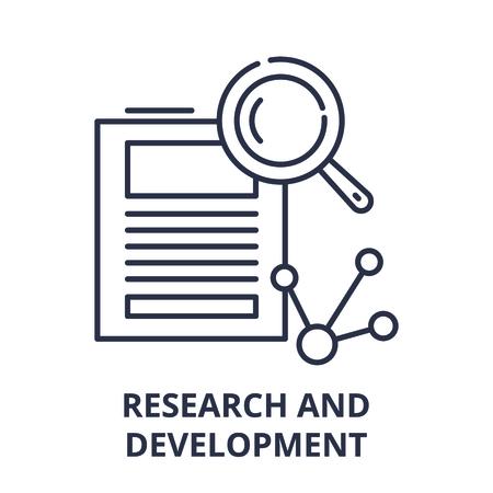Research and development line icon concept. Research and development vector linear illustration, sign, symbol