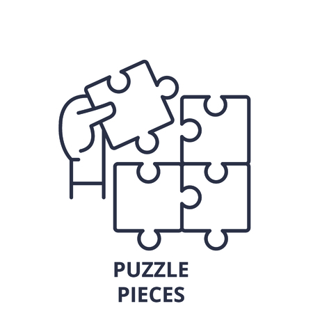 Puzzle pieces line icon concept. Puzzle pieces vector linear illustration, sign, symbol Stock Illustratie