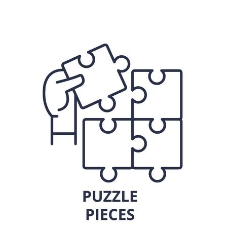 Puzzle pieces line icon concept. Puzzle pieces vector linear illustration, sign, symbol Illustration