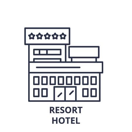 Resort hotel line icon concept. Resort hotel vector linear illustration, sign, symbol Illustration