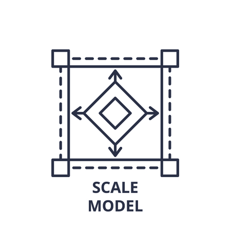 Scale model line icon concept. Scale model vector linear illustration, sign, symbol