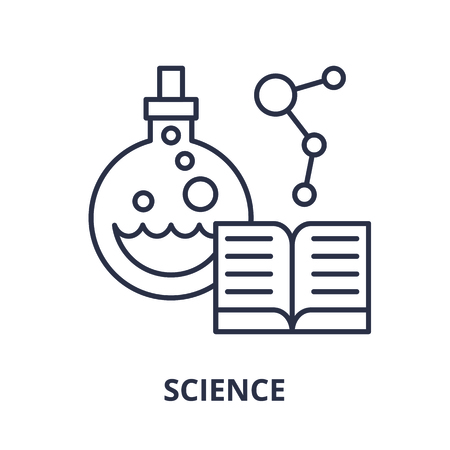 Science line icon concept. Science vector linear illustration, sign, symbol Illusztráció