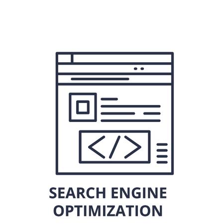 Search engine optimization line icon concept. Search engine optimization vector linear illustration, sign, symbol Illustration
