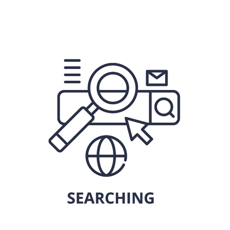 Searching line icon concept. Searching vector linear illustration, sign, symbol