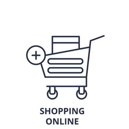 Shopping online line icon concept. Shopping online vector linear illustration, sign, symbol Ilustração