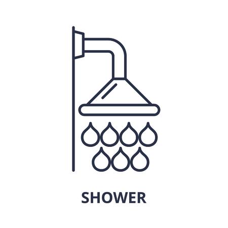 Shower line icon concept. Shower vector linear illustration, sign, symbol Illustration