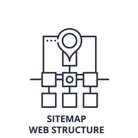 Sitemap web structure line icon concept. Sitemap web structure vector linear illustration, sign, symbol Illusztráció