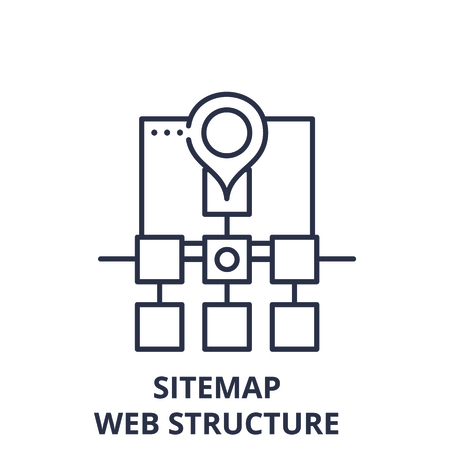 Sitemap web structure line icon concept. Sitemap web structure vector linear illustration, sign, symbol Çizim