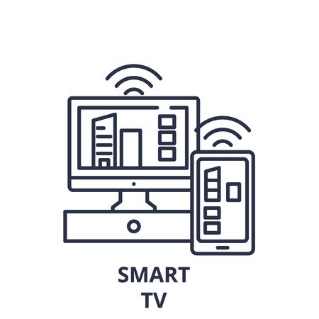 Smart tv line icon concept. Smart tv vector linear illustration, sign, symbol Çizim