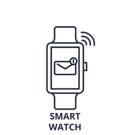 Smart watch line icon concept. Smart watch vector linear illustration, sign, symbol