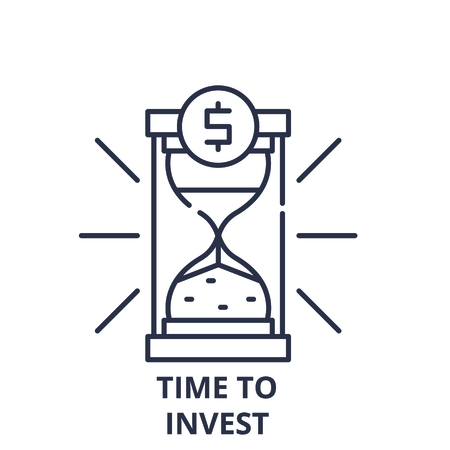 Time to invest line icon concept. Time to invest vector linear illustration, sign, symbol Banco de Imagens - 112045463