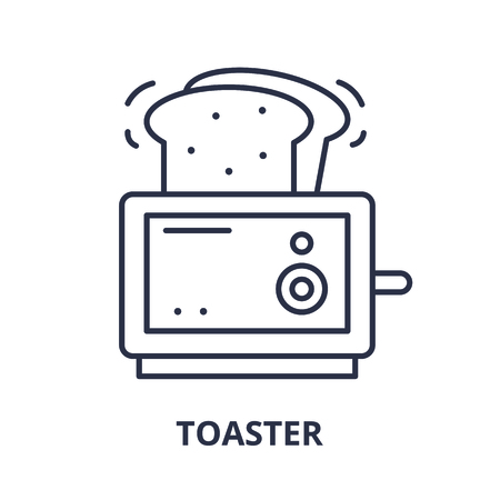 Toaster line icon concept. Toaster vector linear illustration, sign, symbol Иллюстрация
