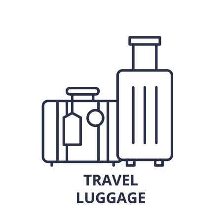 Travel luggage line icon concept. Travel luggage vector linear illustration, sign, symbol Illustration