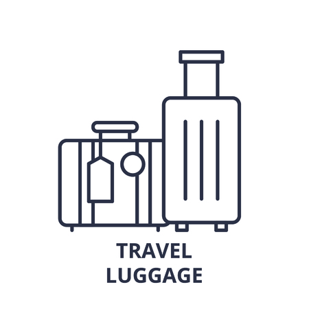 Travel luggage line icon concept. Travel luggage vector linear illustration, sign, symbol Stock Vector - 112277930