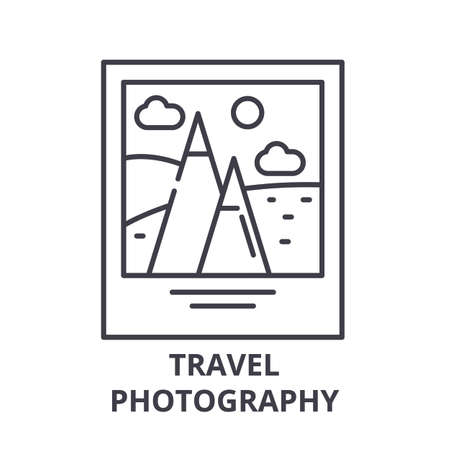Travel photography line icon concept. Travel photography vector linear illustration, sign, symbol Фото со стока - 112277933